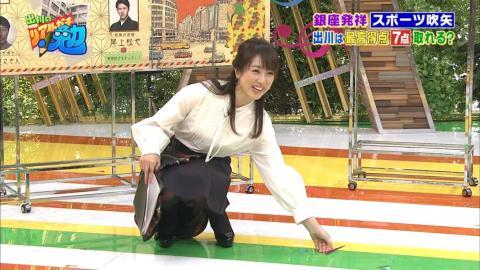 【画像あり】川田裕美アナ(33)パンチラ事故…しゃがんで見えた、黒タイツの白パンツ…