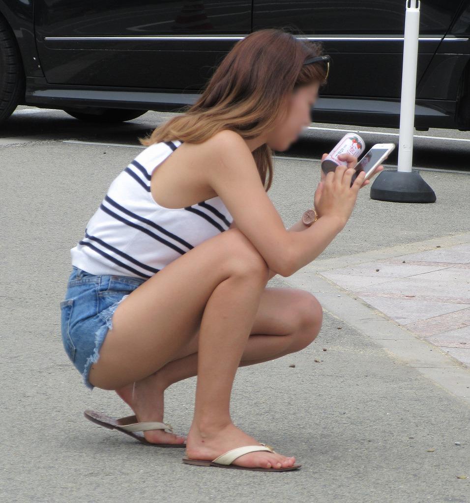 【ショーパンエロ画像】下着に惑わされず純粋に脚だけを見せてくれるショーパン素人(;´∀`)