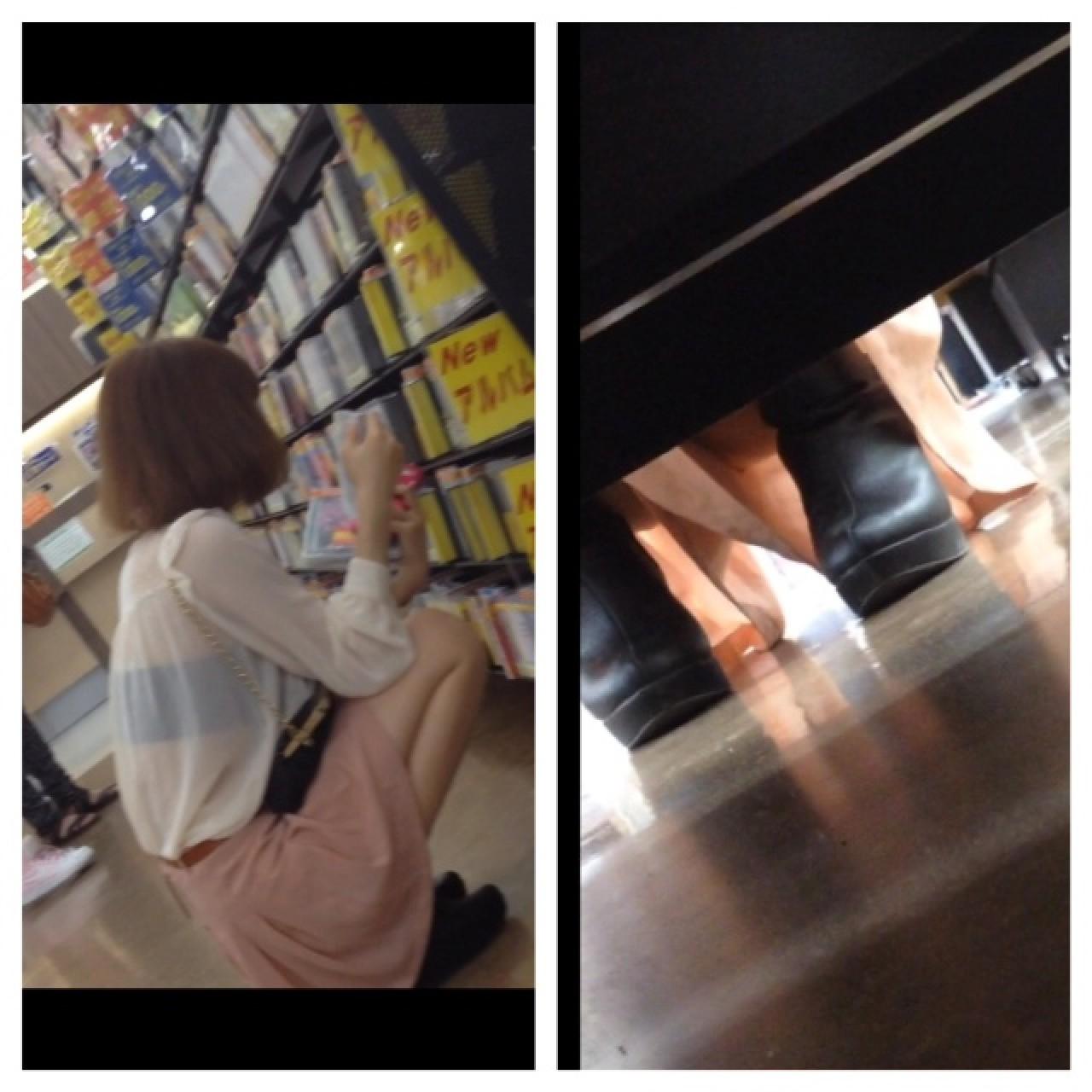 【パンチラエロ画像】店の棚下に要注意!向こう側の気になる下着を激写(;´∀`)