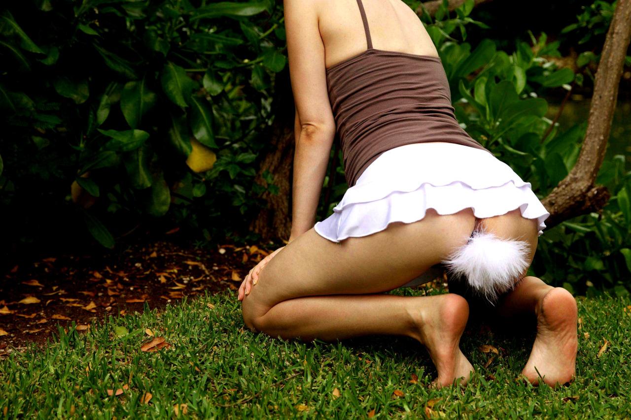 【調教エロ画像】ケツ穴に挿して使用w可愛いペットに欠かせない尻尾(*´Д`)