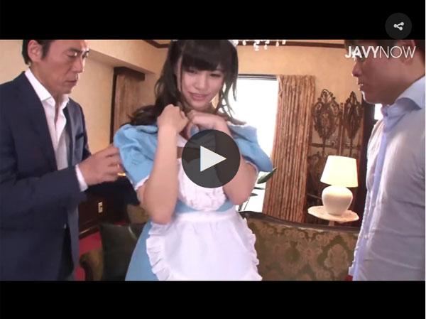 【エロ動画】可愛くてスケベな巨乳メイドが家に来て早々3Pに没頭!(;゚∀゚)=3 03