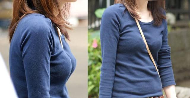 【着胸エロ画像】バッグの紐が立役者wパイスラでより目立つ着衣おっぱい(*´д`*)