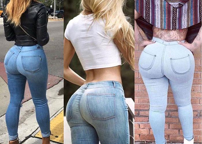 凄く窮屈に見えるジーンズ履いた巨尻のエロ画像