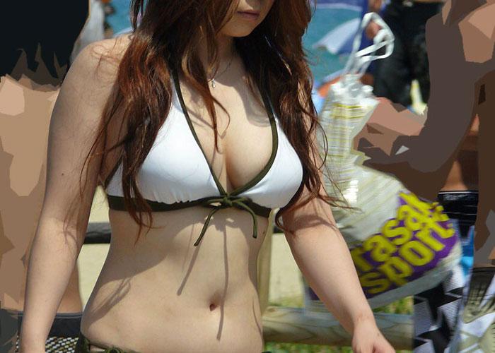 【水着エロ画像】ポロリもお願い!悩ましいビキニ巨乳なビーチのギャル(;´∀`) 表紙
