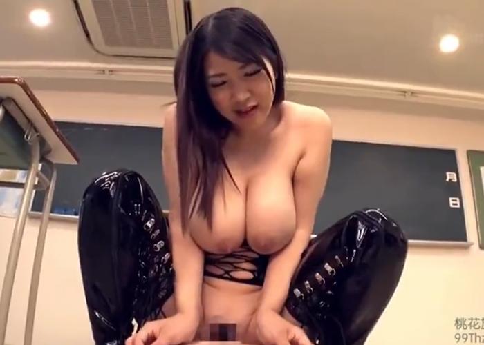 【エロ動画】ドSな爆乳女教師がボンデージ姿でM生徒を焦らして嬲る!(*゚∀゚)=3
