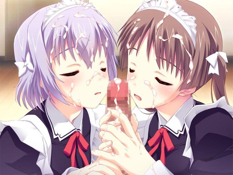 【二次エロ画像】舐めてる人数分だけ虜に出来た気分…美少女複数のご奉仕フェラ(;´Д`)