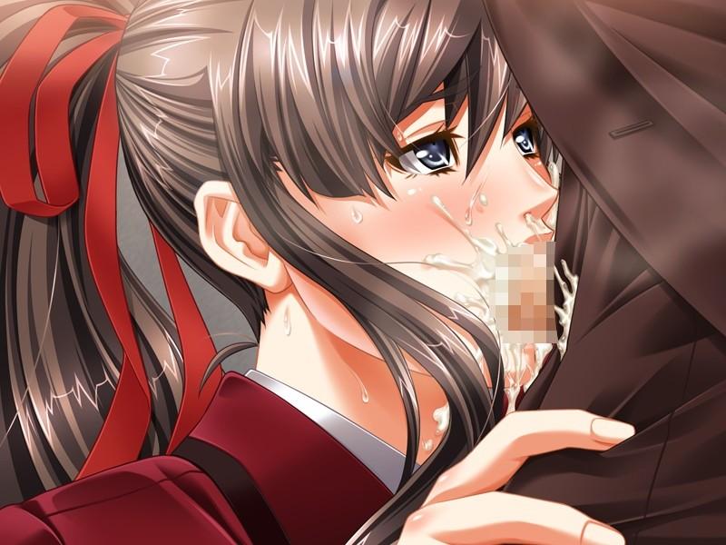 【二次エロ画像】美少女の口にグロい男根が…ギャップに萌える二次フェラ!(;´Д`)
