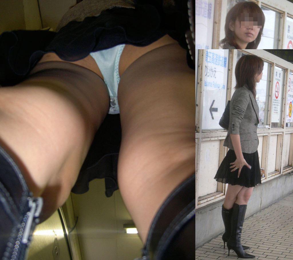 【パンチラエロ画像】匂い立ち込めそうなスカート内部を逆さ撮り!(;・∀・)