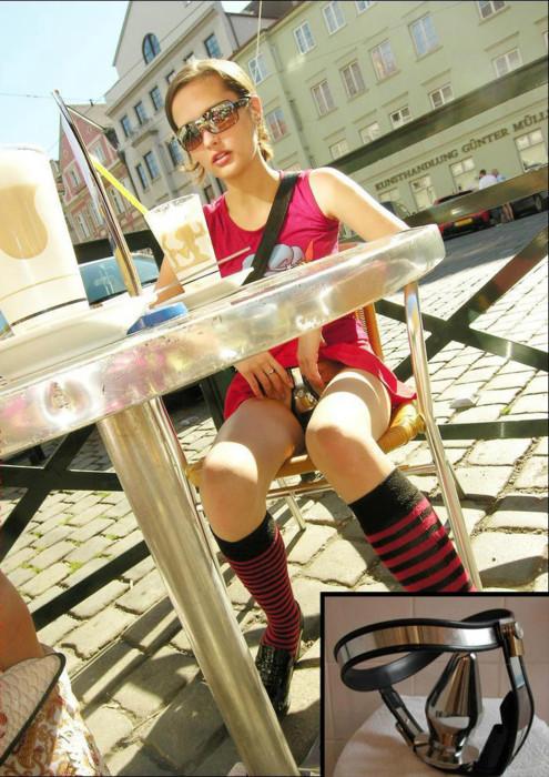 【海外エロ画像】自由にエッチできない証!貞操帯を装着した美女たち(;゚Д゚)