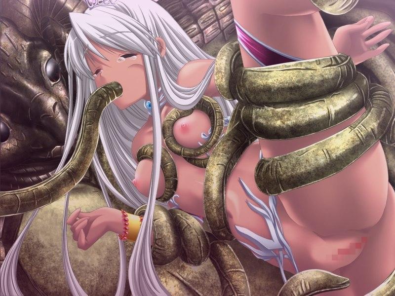【二次エロ画像】人間よりもイヤらしく手加減しない触手生物に犯される美少女!(;・∀・)