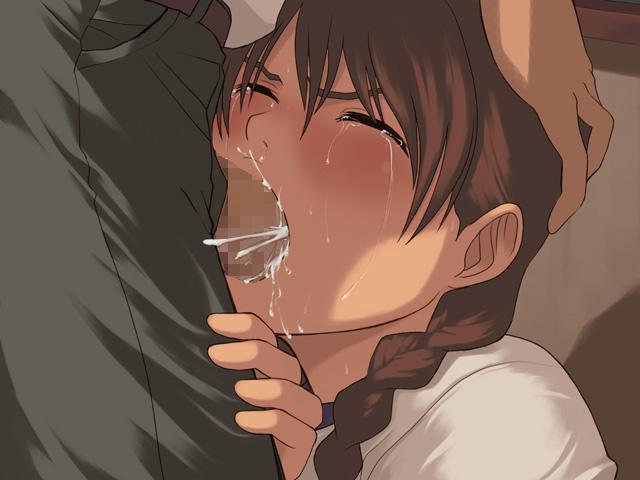 【二次エロ画像】喉に性感帯あるらしいから…容赦ないイラマで口虐!(゚A゚;)