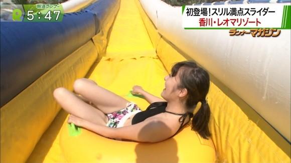 関西で松山メアリの半裸ウォータースライダー
