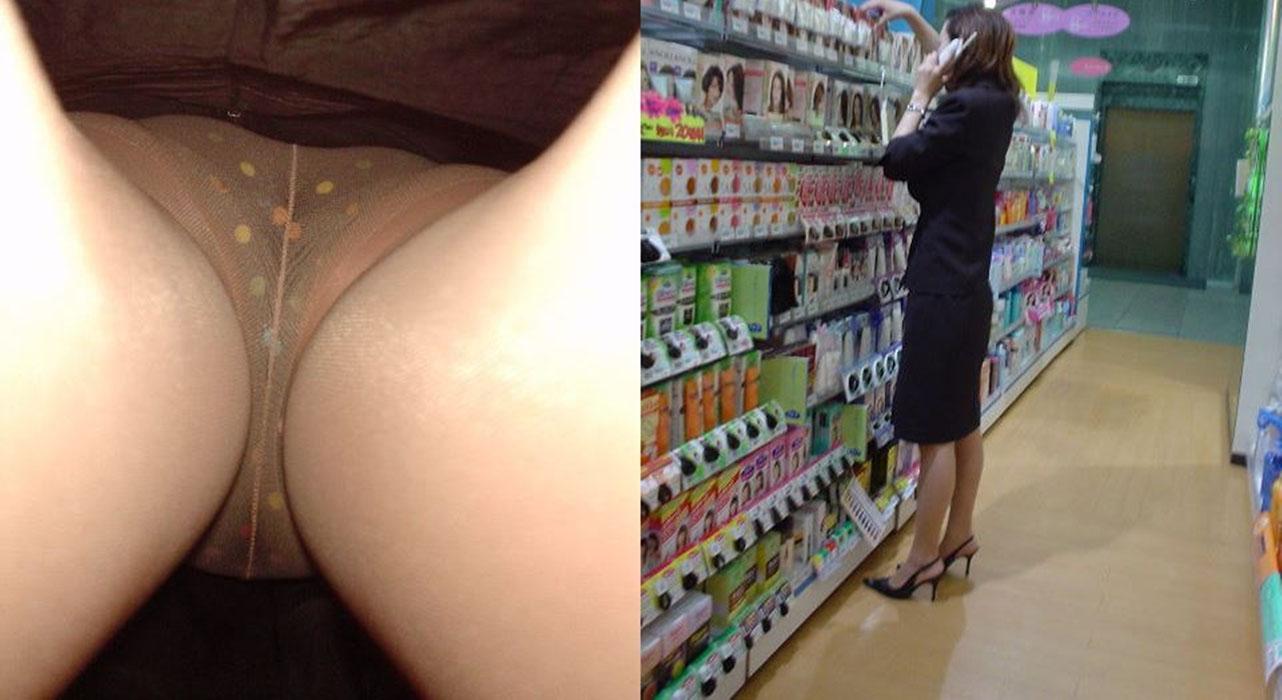 【パンチラエロ画像】下着履いたケツがド迫力な逆さ撮り!(;゚Д゚)
