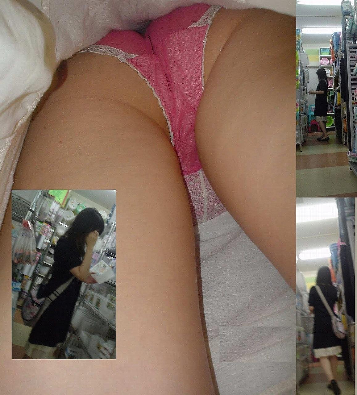 【パンチラエロ画像】夢が詰まったスカートの中に潜入!逆さ撮りパンチラ(゚A゚;)