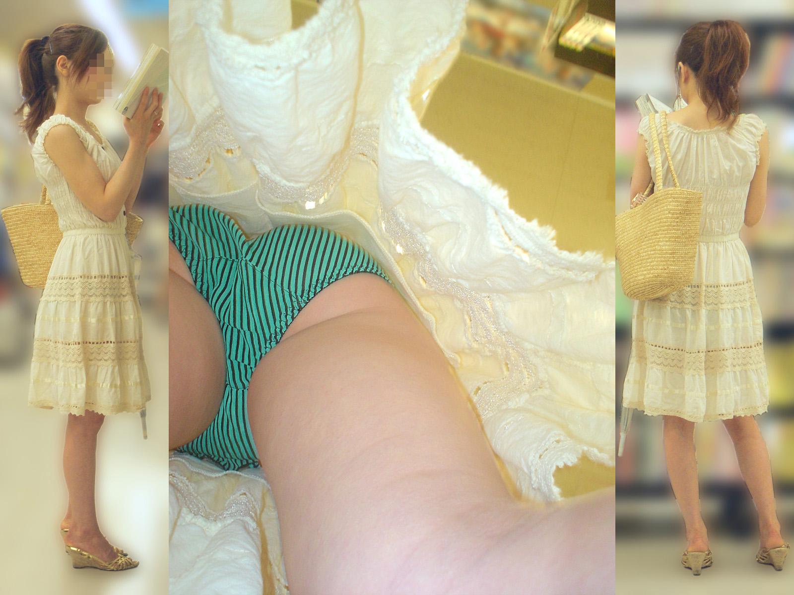 【パンチラエロ画像】潜れば謎の暖気が…スカート内部の逆さ撮り激写!(;・∀・)