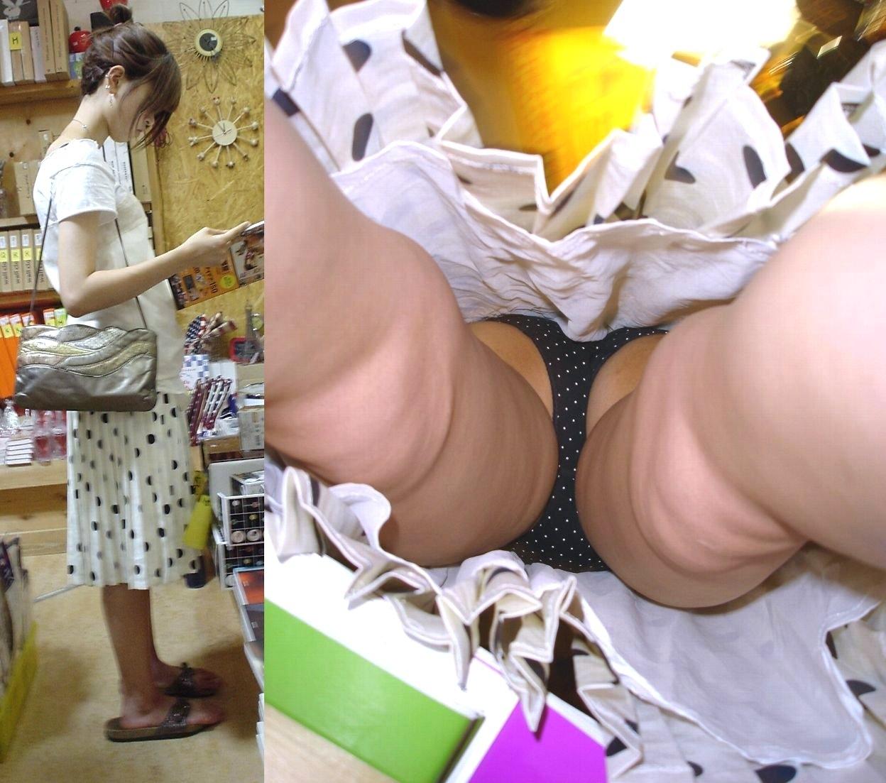 【パンチラエロ画像】暖かそうなスカート内部にカメラが潜入!逆さ撮りパンチラ(;^ω^)