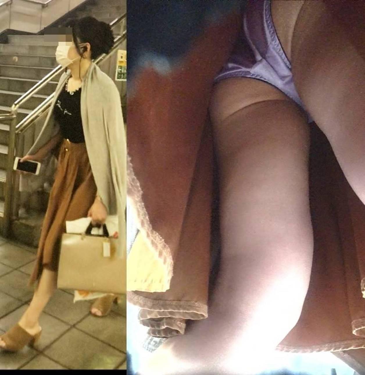 【パンチラエロ画像】ハイリスク・ハイリターンな逆さ撮りパンチラ!