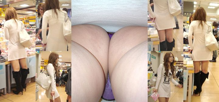 【パンチラエロ画像】Tバックも丸見え!逆さ撮りハンター達のスカート内暴き