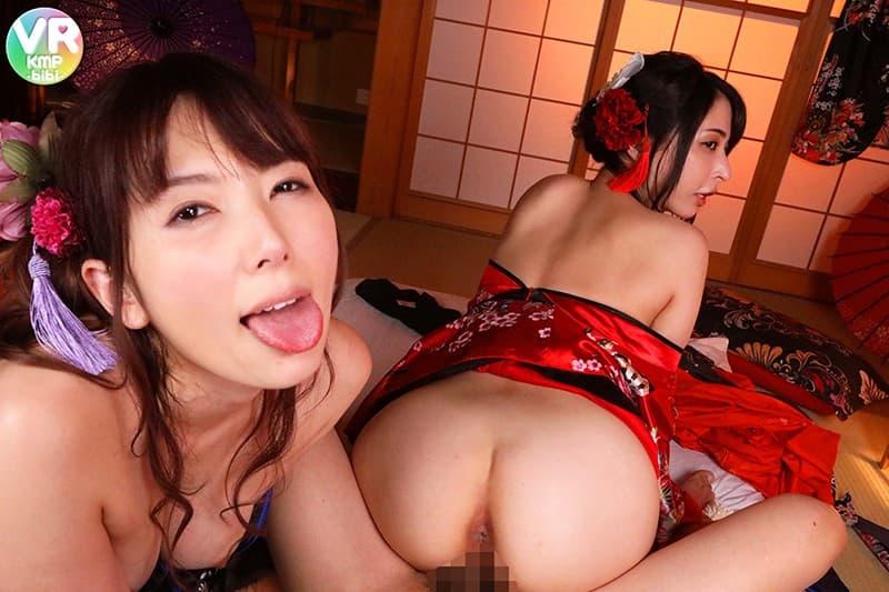 【性交エロ画像】忙しいけど嬉しい…挟撃は避けられないW美女との逆3P!