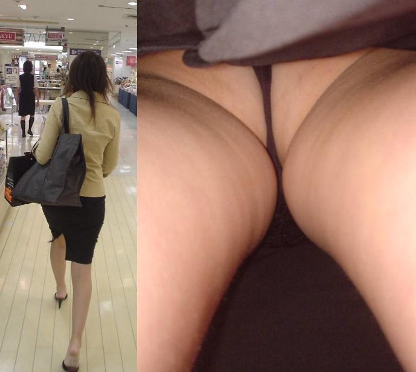 【パンチラエロ画像】下着とお尻がとても大きく…プロ達の逆さ撮りパンチラ!