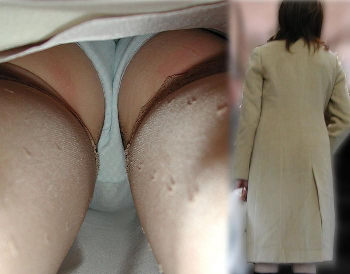 【ハミ毛パンチラエロ画像】パンチラ逆さ撮りに写りこんだラッキーなオマ毛?www