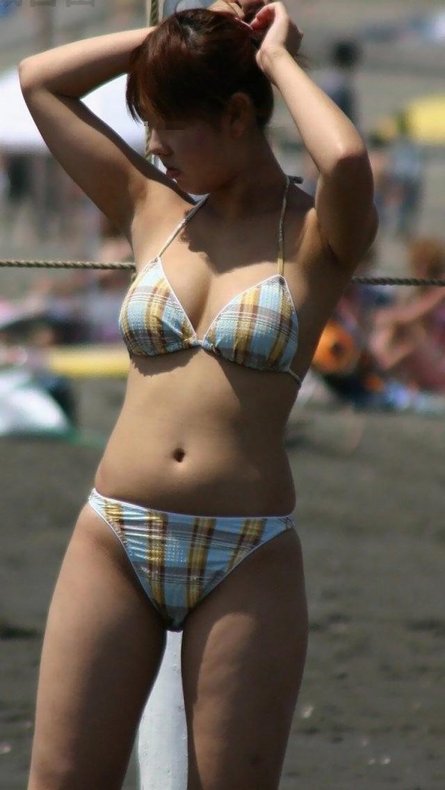 【素人水着エロ画像】素人娘たちの生々しい水着姿に勃起不可避!www 08