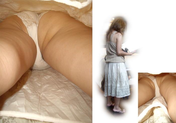 【ハミ毛パンチラエロ画像】パンチラ撮ったらハミ毛してた素人娘たち!www 表紙