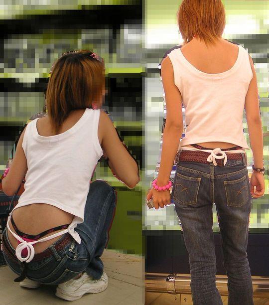 【ローライズエロ画像】このファッション、どうしたってパンツやお尻が見えちゃうんだよねw 06