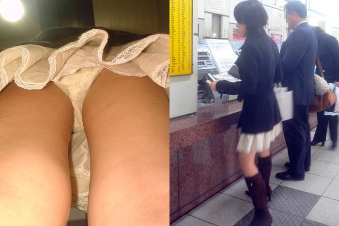 【逆さ撮りエロ画像】スカートの中身を直下の角度が盗み撮りしてみた結果www