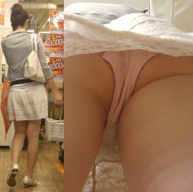 【逆さ撮りエロ画像】パンチラ回避絶対不可能な角度から素人の女の子の股間を狙い撃ち! 11