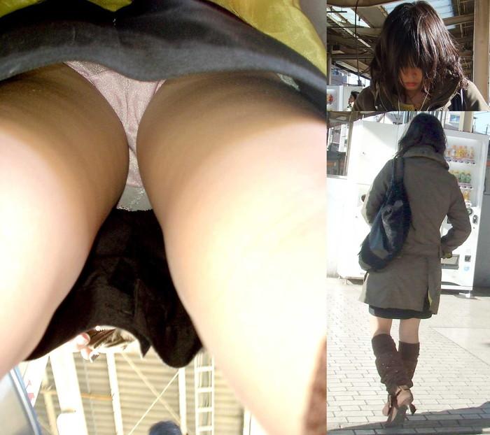 【逆さ撮りエロ画像】パンチラ回避絶対不可能な角度から素人の女の子の股間を狙い撃ち! 12