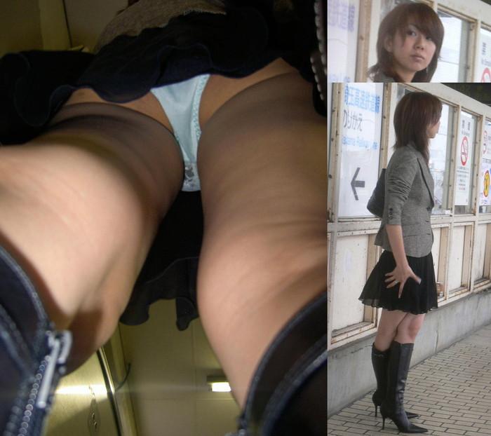 【逆さ撮りエロ画像】パンチラ回避絶対不可能な角度から素人の女の子の股間を狙い撃ち! 14